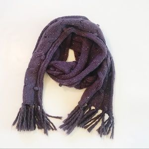 Ribbed Knit Aeropostale Pom Pom Scarf Purple